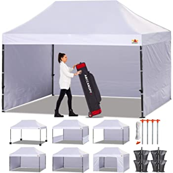 Amazon Com Finfree 10x15 Ft Pop Up Canopy Tent Commercial Instant Canopy With Roller Bag 6 Walls And Weight Bags Cyan Garden Outdoor