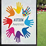 Autism Window Film Window Stickers,Hands Symbolizing a Learning Difference Neurological Condition Support and Hope Window Sticker Window Privacy Film Removable,Multicolor 24' x 36'