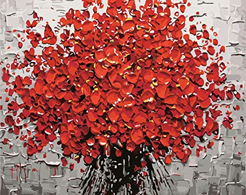 KZIK DIY Oil Painting by Numbers Kit for Adults Beginner, DIY Digital Oil Painting Drawing On Canvas - Red Floral Bouquet 16x20 inch