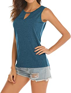 95ec107ab97cf2 Poetsky Womens Backless Tank Tops Sleeveless Keyhole Blouse Sexy Summer  Tshirt