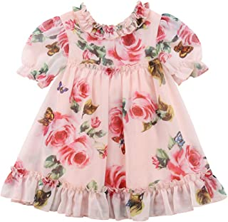 Hotwon Toddler Kids Baby Girl Floral Dresses Clothes Short Sleeve Rose Butterfly Casual Dresses Outfits