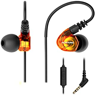 ROVKING Wired Over Ear Sport Earbuds, Sweatproof in Ear Headphones for Running Gym Workout Exercise Jogging, Noise Isolating Earhook Earphones Ear Buds with Mic for Cell Phones MP3 Laptop, Orange