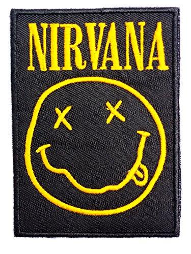 NIRVANA Classic Smiley Embroidered Iron On Sew On Aufnäher Bügelbild Patch 3.6