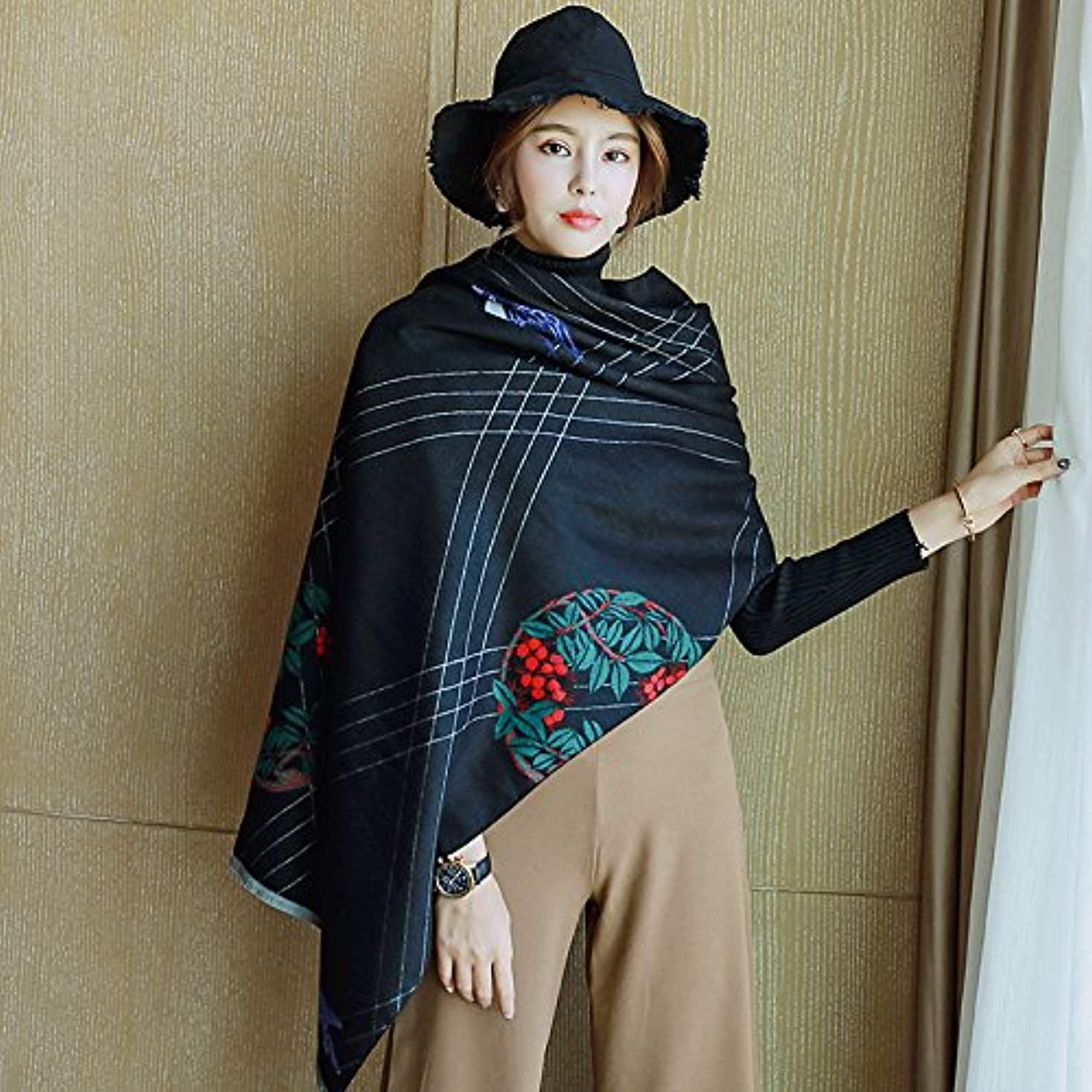Autumn and Winter DoubleSided Dualuse Cashmere Tassel Shawl Warm Scarf Female Long Paragraph Thick Rectangular 190cm  65cm,Swallow 4 Black Women, Festivals, Birthday Presents