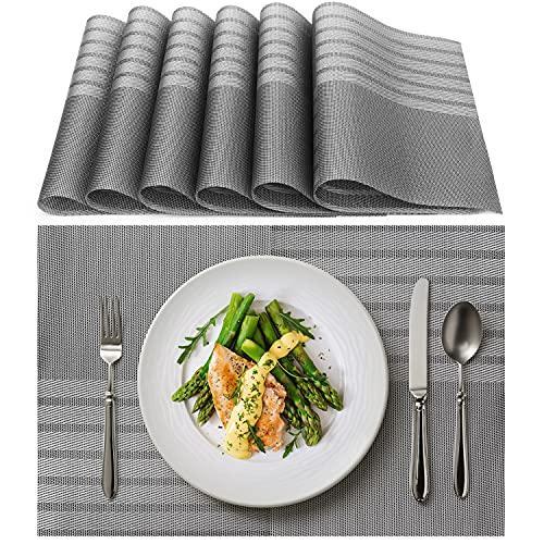 Tischset Abwaschbar, Aibesser Platzsets Abwischbar 6er Set, Platzdeckchen Abwaschbar PVC, Hitzebeständig Abgrifffeste und Waschbare für Küche Hause Restaurant und Hotel