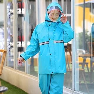 SYFO Portable Rainwear Women's Split Raincoat Rain Pants Set Double Thick Waterproof Detachable Double Cap Design Safety Reflective Strip (Color : Blue, Size : L)