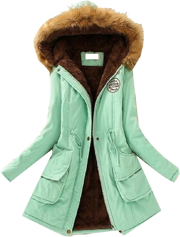 LEISHOP Women Drawstring FauxFur Collar Thicken Hoodies Mid Down Jacket Coat