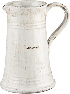 Sullivans White Pitcher Ceramic Vase, 8 x 10 Inches, Rustic Home Decor (CM2364)