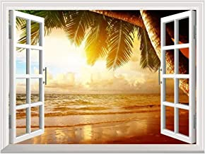 wall26 Removable Wall Sticker/Wall Mural - Sunrise on The Oceanside   Creative Window View Wall Decor - 36