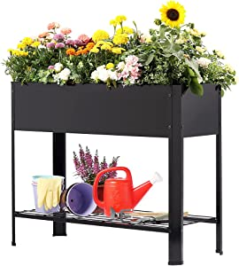 GIOPACO Large Metal Raised Garden Bed with Legs,40