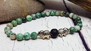 Jade Essential Oil Diffuser Bracelet ~ Heart Chakra ~ Lucky Elephant Yoga Gemstone Jewelry ~ Natural Aromatherapy ~ Birthday, Graduation Gift
