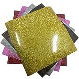 Gnognauq 5 Laminas de Vinilo Termoadhesivo Textil Brillante para Proyectos Creativos de Imprimible Flexibles sin Tóxicos Pegatina de 25.5 x 25.5 cm Color Mixto