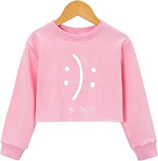 EAST KNITTING Girls Funny Letter Print Crop Tops Big Kids Round Neck Long Sleeve Tops
