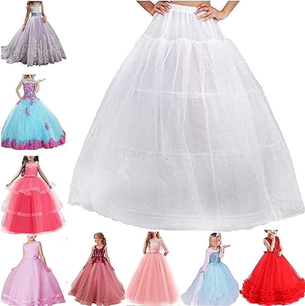 Flower Girls Petticoat 3 Hoops Full Slips Dress Kids White Crinoline Underskirt