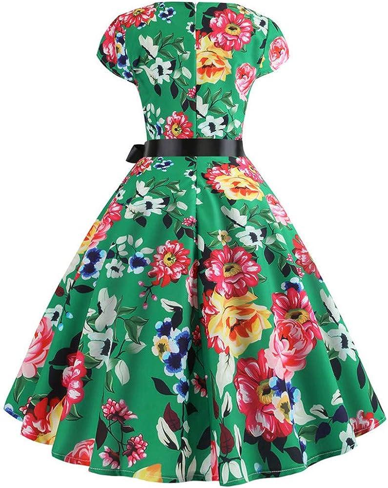 KUKICAT Vintage Prom Skirt Women Vintage Hebborn Short Sleeve O Neck Evening Print Party Prom Swing Dress