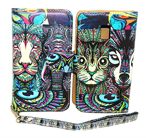 Tribal Animals Design Wallet Leather Case for LG Optimus F6 D500 / MS500 with Kickstand
