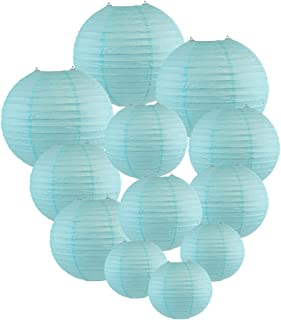 Just Artifacts Decorative Round Chinese Paper Lanterns 12pcs Assorted Sizes (Color: Sky Blue)