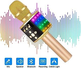 Ankuka altavoz inalámbrico para micrófonos de karaoke, 4 en 1 Reproductor portátil de KTV Bluetooth, Calidad de audio superior para cantar y grabar, Compatible con Android y iOS (Q78 Iluminar Dorado)