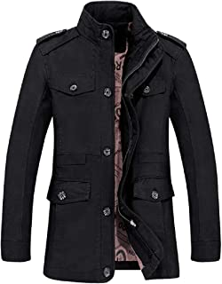 XINHEO Men Thermal Combat Plus-Size Stand Collar Trench Coat Jacket