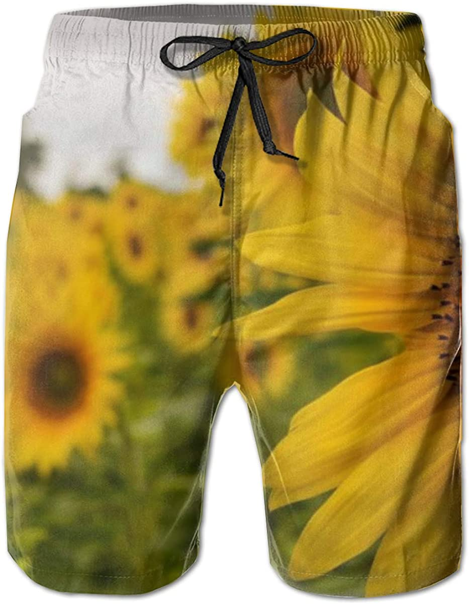 Mens Swim Trunks Quick Dry Beach Shorts Board Shorts Swimwear Bathing Suits (Yellow Sunflower Floral)