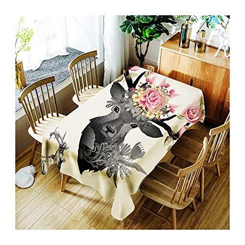 ZHAOXIANGXIANG Nappe Lavable Imprimer Fashion Noir Et Blanc Motif À Fleurs,Elk Décoration Minimaliste Accueil Tapis De Table ,90Cm×130Cm