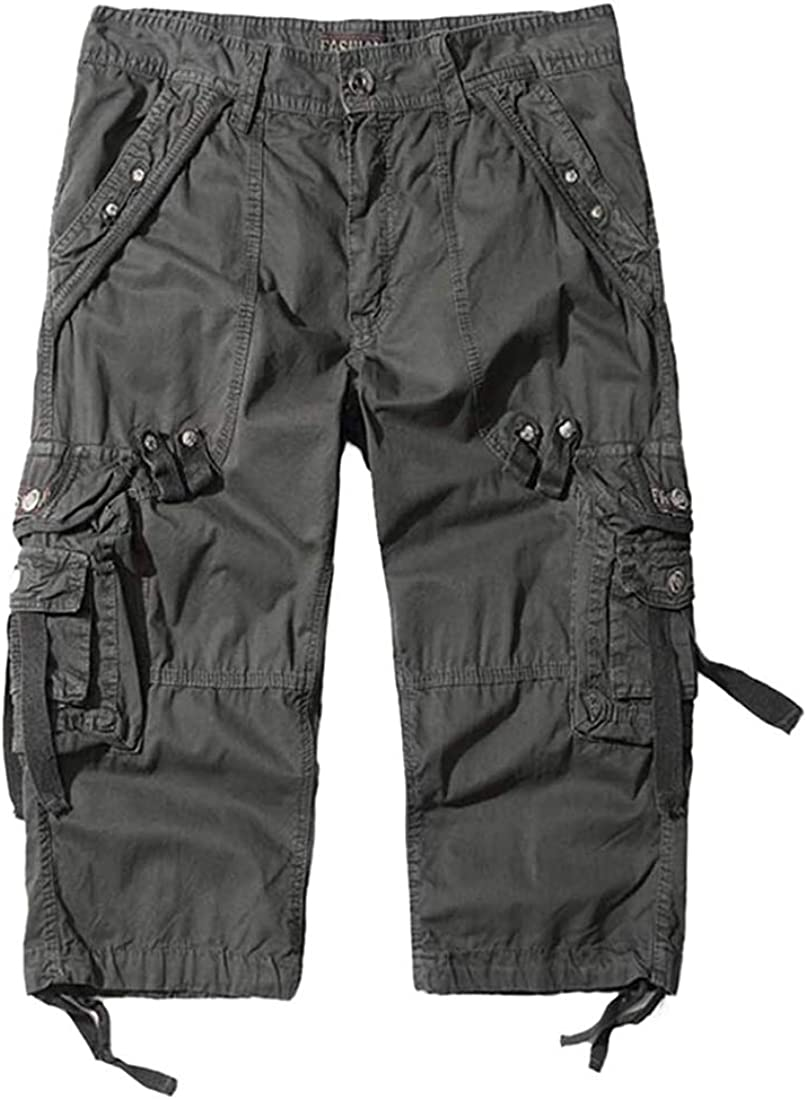 EAEAO Men's Cargo Shorts with Pocket Cotton Capri Pants Below Knee Long Shorts