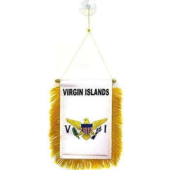 Virgin Islands St Croix Thomas Mini Banner Flag Car Home Window Rearview Mirror