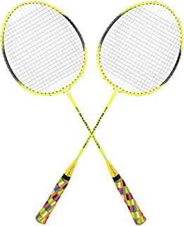 Guru CLS 350 BS07 Pack of Two Racket Badminton Set, Size 27 Inch With Cover (Yellow)