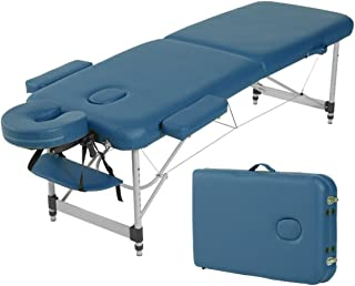 Ultra Light Weight Sturdy Aluminum Frame Bed 84 Inch Portable Massage Table with Carry Case Face Cradle Arm Rests, Facial ...