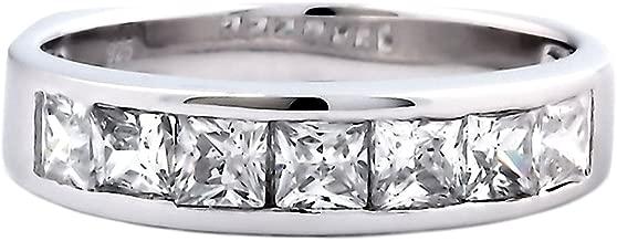 Tallia B: 3.4ct Princess-cut Ice on Fire CZ Semi Eternity Wedding Band Ring 925 Silver, 3147