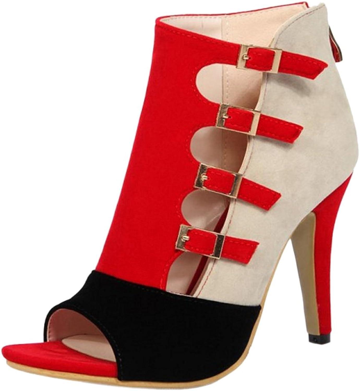 JOJONUNU Women Peep Toe Summer Boots