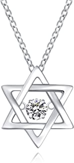 Sterling Silver Star Pendant Necklace Dancing-Heart Crystal Star of David Jewelry Gift for Christmas Party Women Girls