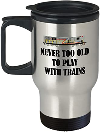 Railfan Gift Never Too Old To Play With Trains Railway Enthusiast Mug
