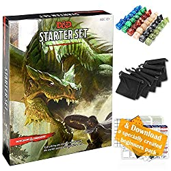 Image: Dungeons and Dragons Starter Set 5th Edition - DND Starter Kit - Dice in Black Bag - Fun DND Rolling Board Games for Adults - New Adult Magic Board Game 5e Beginner Popular Pack Die Book