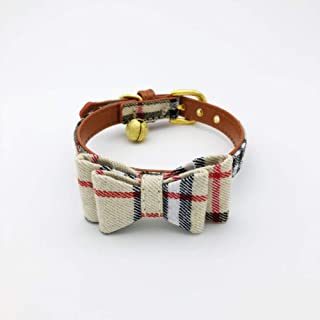 PetFavorites Bowtie Small Dog Cat Collar with Bell - Plaid Bandana Collar for Puppy Kitten - Teacup Yorkie Chihuahua Clothes Costume Outfits Accessories, Adjustable Size 8.7 to 11-Inch.