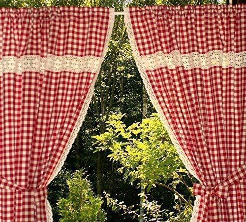 rot-weiß karierte Küchengardine 2 Schals Bauernkaro mit Klöppelspitze 120cm hoch