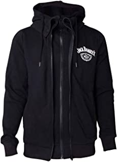 Jack Daniels Hoodie Double Lined Old No 7 Logo Back Print Official Mens Black