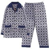 DFDLNL Pijamas de Invierno con Chaqueta Acolchada de algodón para Hombre, Ropa de Noche cálida Gruesa, Ropa de Dormir Acolchada de Tres Capas, Pijamas para el hogar, Traje XL