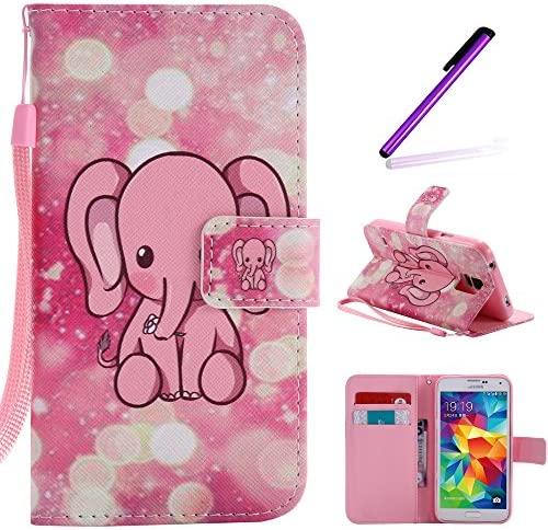 S5 Case Galaxy i9600 Case LEECOCO Fancy Paint Floral Design Case Credit Cards Slot Cash Pockets product image