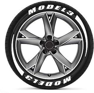 TAYDMEO 3D Logo Car Tire DIY Letters Stickers, para Tesla P100D Modelo 3 XS, calcomanías de Ruedas de neumáticos de Motocicleta automática
