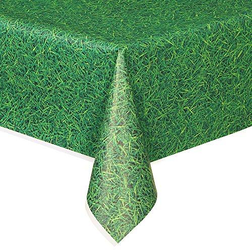 Unique Party - Mantel de Plástico - 2,74 m x 1,37 m - Patrón De Hierba Verde (50273)