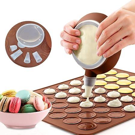 LangRay Tapis de Cuisson Macarons, Plaque à Macarons Meringues Moule en Silicone pour 48 Empalcements Macarons avec 1 Poche à Douille et 4 Embouts de Formes Differentes