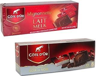 Cote D'Or Belgian Chocolate Mignonnette Variety Pack: (1) Cote D'Or Extra Dark Belgian Chocolate Mignonnettes, and (1) Cote D'Or Belgian Milk Chocolate Mignonnettes, 8.46 Ea.