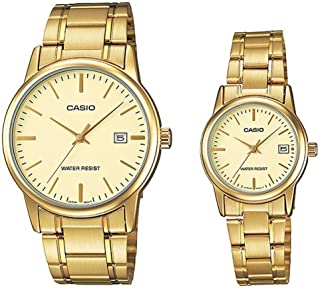 Casio His and Hers Black Dial Stainless Steel Watch MTP/LTP-V002G-9AUVDF