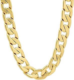11.5mm 14k Gold Plated Beveled Cuban Link Curb Chain + Microfiber Jewelry Polishing Cloth