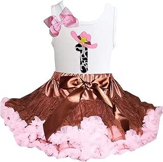 Kirei Sui Brown Light Pink Tutu & Little Cowgirl White Tank Top