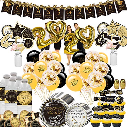 Graduation Decorations 2020 - Class of 2020 Decorations Pack, Including 12 pcs Centerpiece, 24 Water Bottle Labels, 24 Favor Labels, 12 Candy Stickers, 22 Cupcake Toppers, 24 Graduation Plates