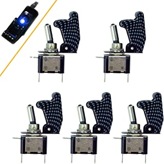 HOTSYSTEM Rocker Toggle Switch SPST ON/Off 12V/20A Carbon Fiber Cover LED Illuminated 3Pin for Car Truck Boat Motorcycle (Pack of 5, Blue)