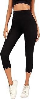 Romwe Women's High Waist Athletic Scallop Hem Tummy Contral Capri Leggings Yoga Pants