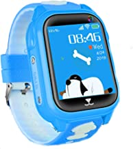 Kids Smart Watch Phone with GPS Tracker Free SIM Card 1.5'' Touch Screen IP68 Waterproof Two-Way Call SOS Voice Chat Camera Smartwatches for 4-12 Girls Boys Birthday Gift Compatible Android iOS (Blue)